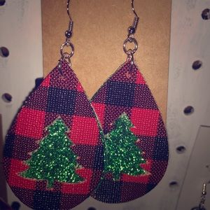 Christmas faux leather earrings brand new